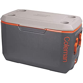 COLEMAN 70 QT Xtreme Ice Box, large 66L cooler box, holds ice for up to 5 days, capacity 100 cans, high-quality made in USA, grey