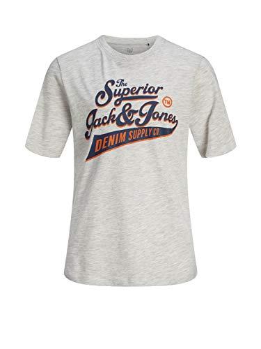 JACK & JONES Jungen T-Shirt Kurzarm Logo-Print Shirt Baumwolle, Größe:128, Farbe:White Melange