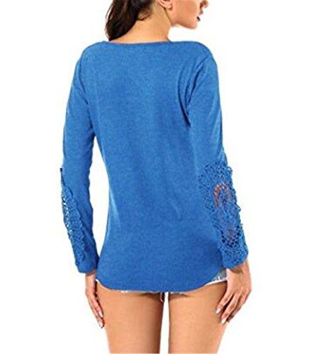 AILIENT Camicetta Blusa Manica Lunga Casual Pizzo Elegante Cotone Sexy Ufficio Girocollo T-Shirt Slim Maliga Per Donna Blue