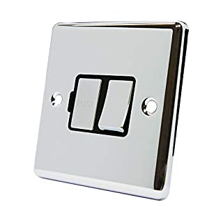 AET CPCSFSBC Polished Chrome Classical Spur Black Insert Metal Rocker Switch-13 Amp Switched Fused Connection Unit