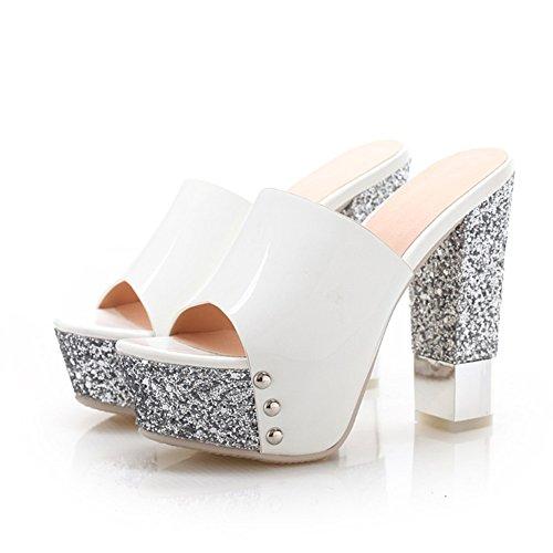 Super alto con spessore con pantofole di pesce/Impermeabile glitter piattaforma scarpe da donna B