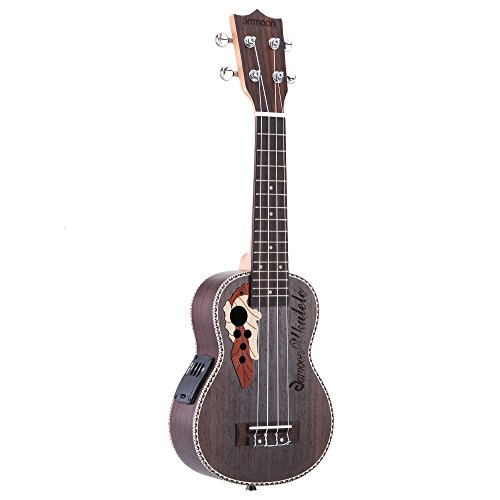 ammoon® Fichte 53,3cm Akustik Ukulele 15Bund 4Saiten bespannt Musikinstrument mit integriertem EQ Pickup Tonabnehmer
