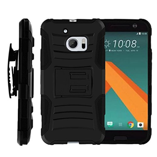 TurtleArmor Schutzhülle für HTC 10 (kompatibel mit HTC 10 Hülle,One M10 Hülle,HTC 10 Lifestyle [HyperShock] Robuste Combo Gürtelclip Hybrid Camo Hülle Silikon mit Ständer -, schwarz