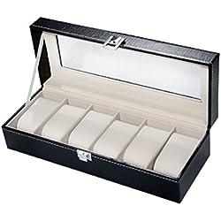 Black Faux Leather 6 Watch Display Storage Case Box new