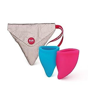 FUN FACTORY FUN CUP SIZE A – Zwei Menstruationstassen inkl. Tasche Silikon ( Rosa/Türkis )