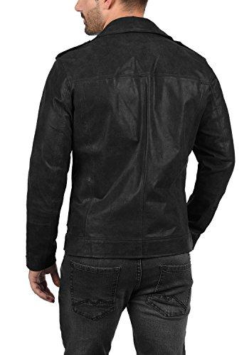SOLID Mash Herren Lederjacke Echtleder Bikerjacke mit zahlreichen Metall-Details aus 100% Leder, Größe:L, Farbe:Black (9000) - 4