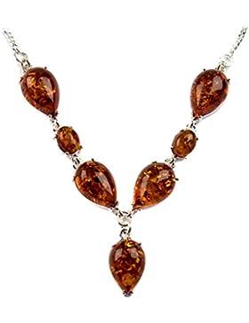 Bernstein Sterling Silber Tropfenform Halskette 46 cm