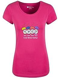 Mountain Warehouse Great British Weather Tee-Shirt T-Shirt Femme Manches Courtes Léger Coton Rose Vif 40