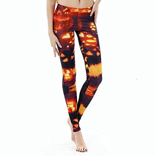 Heiß Feuer Frauen Leggings Kürbis Lampe Funny Halloween Kostüme (Keine 2 Bleistift Kostüm)