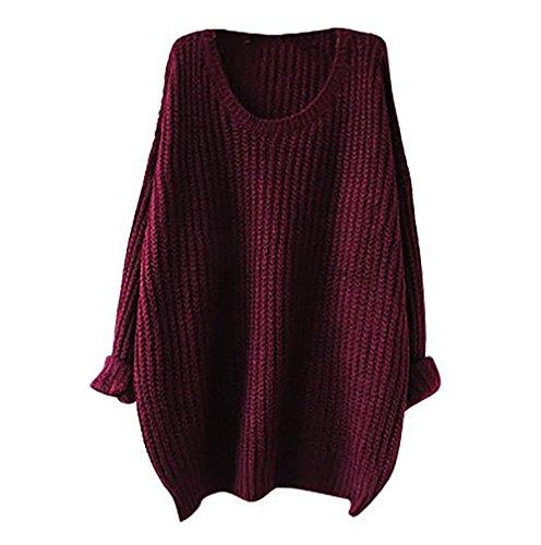 Maglione oversize Donne Manica lunga Baggy lavorato a maglia Felpa (rosso)
