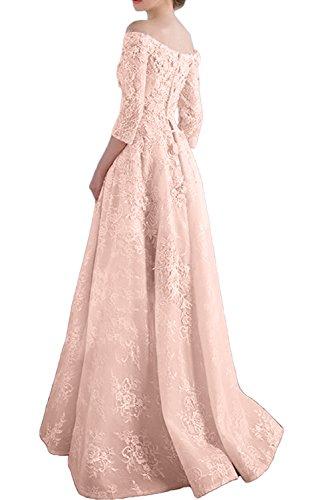 Gorgeous Bride Hochwertig 2017 Lang Ärmel Abendmode Satin Spitze A-Linie Abendkleider Lang Cocktailkleider Ballkleider Himmelblau