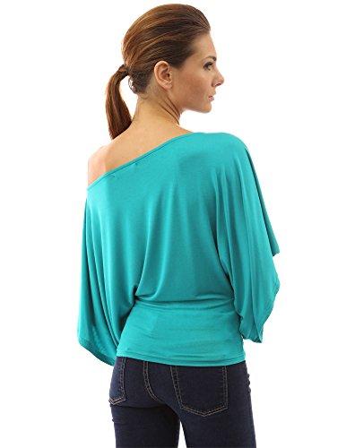 PattyBoutik Damen Schulterfreies Top mit langen und Kimono Ärmeln Türkis
