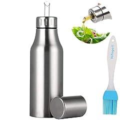 Idea Regalo - Nifogo Bottiglia di Olio - Olio e Aceto Dispenser Acciaio Inossidabile, Prova della Polvere EA Prova di Perdite con Beccuccio Oliera Bottiglia, Utensile da Cucina (750ml+Pennello Olio)