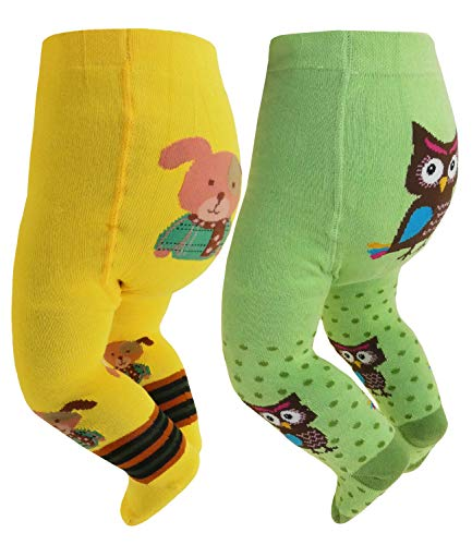 Pack Babystrumpfhosen Doppelpack Mädchenstrumpfhosen Baumwollstrumpfhosen Sweet Animals für Babys (RS-26036-S18-BM1-D3-D6-0/6) in Gelb-Grün, Größe 0/6 inkl Hutfibel ()