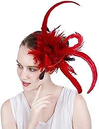 Cappello da Donna Affascinante Fascinators Piuma Elegante Forcella del  Cappello del Cocktail Accessori della Sposa da Sposa delle Donne… 00bdaaa56718