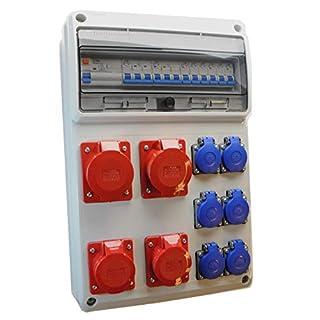 AW-TOOLS Baustromverteiler/Wandverteiler 6 x 230V/16A Schuko + 2 x CEE16A/400V + 2 x CEE32A/400V verdrahtet + LS + FI