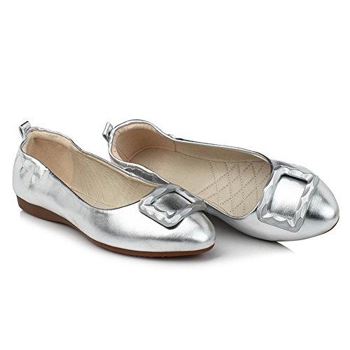 VogueZone009 Damen Ziehen Auf Rund Zehe Ohne Absatz Pu Leder Rein Flache Schuhe Silber