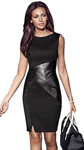 Frauen kleiden PU-Patchwork mit Rundhalsausschnitt ärmel elegante dünne Partei-Kleid Schwarz