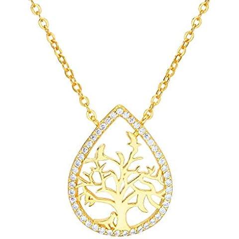 EleQueen argento 925 completa Cubic Zirconia Teardrop Albero d'oro collana Vita ciondolo placcato nuziale