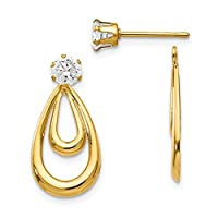 14ct Yellow Gold Dangle Open back Post Earrings Polished With CZ Cubic Zirconia Simulated Diamond Stud Earrings Jackets Jewelry Gifts for Women