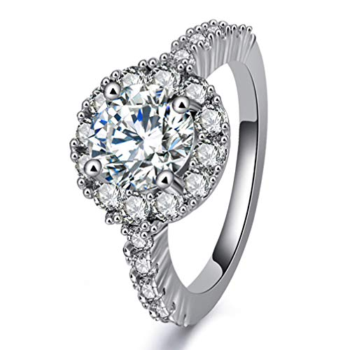 Yhongda Fashion White Gold Simulate Round Diamond Wedding Ring(None 8 White Diamond No. 8)
