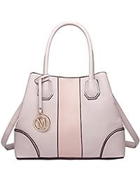 Miss Lulu Leather Look V-Shape Shoulder Handbag Elegant Design Top Handle Fashion  Handbags for be2ef045883fd
