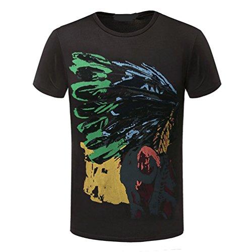 WanYang Casual Herren Rundhals Shirt für Männer Bedruckt Kurzarm T-Shirt mit Aufdruck Oberteil Braun