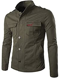 New para hombre de primavera verano Militar Slim Fit Manga Larga Algodón Casual ligera con cremallera chaqueta con botones cuello Parka Trench Abrigos Blazer Outerwear