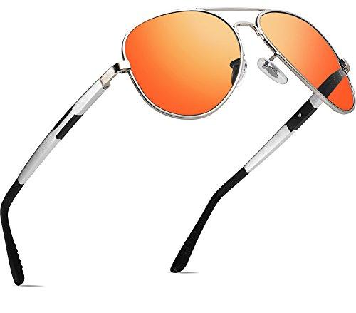 ATTCL Herren Klassik Polarisierte Fahren Sonnenbrille Herren 16695silver-red