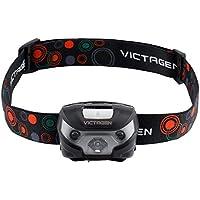 Victagen linterna para la cabeza, linterna flash recargable con 5 modos de luz, cable USB, impermeable, ideal para deportes exteriores.