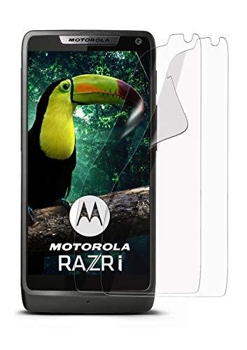 moex 2X Motorola RAZR i | Schutzfolie Klar Bildschirm Schutz [Crystal-Clear] Screen Protector Display Handy-Folie Dünn Bildschirmschutz-Folie für Motorola RAZR i Bildschirmfolie