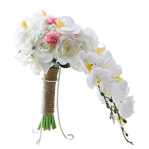 Bpblgf sposa tenendo i fiori phalaenopsis modello a cascata bouquet da sposa, 46 * 24cm