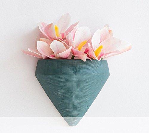 Marcus R Caveggf Nordic INS Wind Wandvase Anhänger, Hochtemperatur Keramik, matt Textur, Wohnzimmer Blume Veranda Korridor Restaurant Wandbehang dekorative Blumentopf, Wirbelkörper dunkelgrünen Anzug -