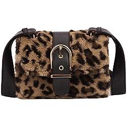 Rawdah_Bolso Mujer Bandolera Bolso Bolso Hombro Pequeños Moda mujer leopardo de felpa Mini bolso cuadrado Hombro Messenger Bag Crossbody Bolsa