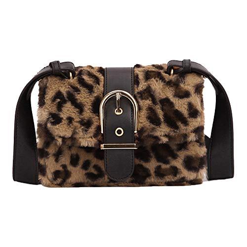 Vovotrade∮ Moda Leopardo Piccola Borsa Quadrata, Moda Donna Leopardo Peluche Mini Casuale Borsa Quadrata Fibbia Sicurezza...