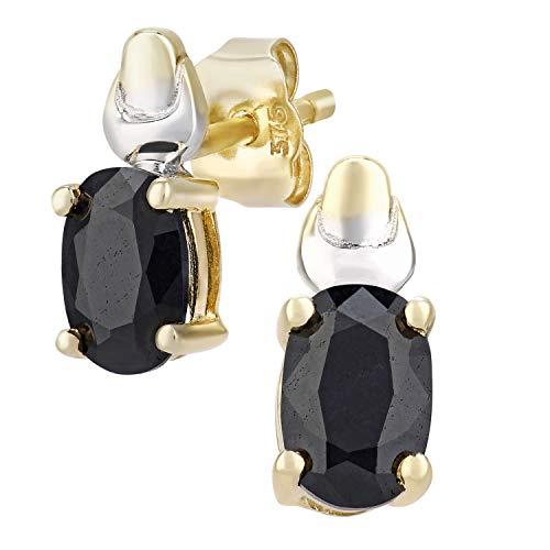 Citerna Damen-Ohrstecker 9 K Gelb und Weißgold ovale Saphir Ohrringe 375 Bicolor teilrhodiniert blau Ovalschliff PE01579YW SA