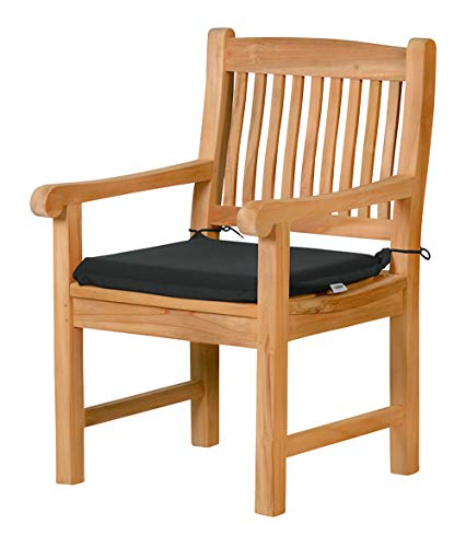 2 x Stuhlauflage aus lichtechtem Dralon - 50 x 45cm, anthrazit grau ✓ Waschbar ✓ Hoher Sitzkomfort ✓ Öko-Tex 100 ✓ Stuhl-Kissen, Gartenstuhl-Auflage mit Bändern ✓ Outdoor Sitzpolster für Garten-Stühle