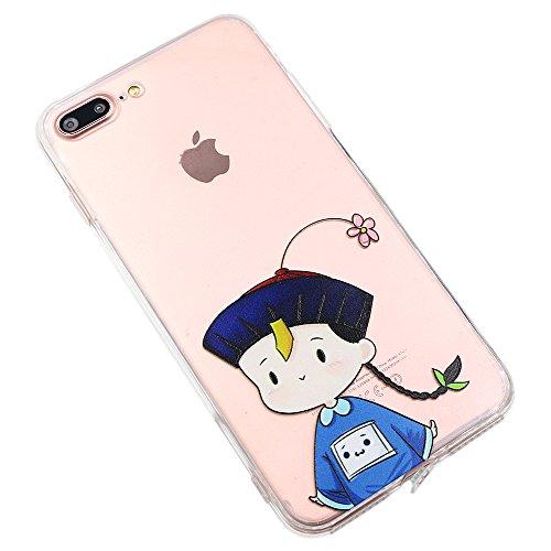 Coque iPhone 7 Plus, TrendyBox Transparent PC Hard Cover avec soft TPU Pare-chocs pour iPhone 7 Plus avec verre trempe film de protection (Fille et Swan) 115