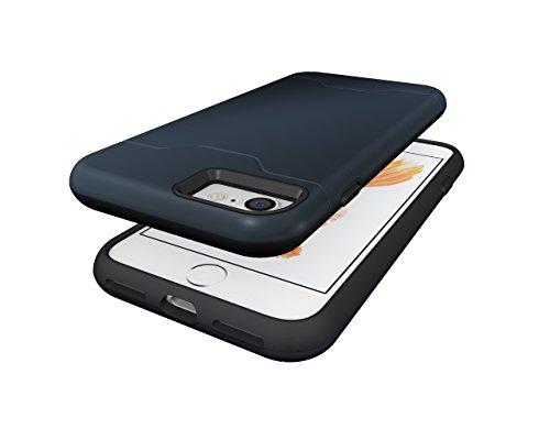 Schutzhülle für Apple iPhone 7 4.7 Zoll aufstellbares Hardcase mit Kartenfach Schutzcover (Bronze) Blau