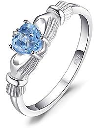 JewelryPalace Claddagh Anillo Topacio Circonita Granate Ópalo Amatista Aguamarina Nano rusa imitado esmeralda en plata de ley 925