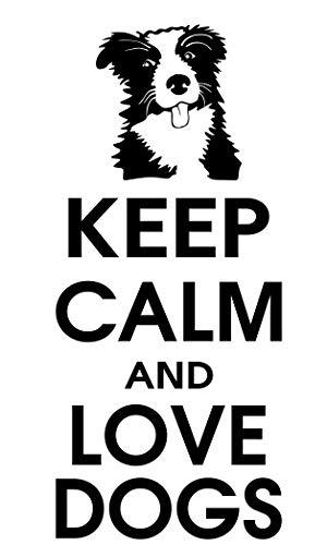 spb87 Keep Calm and Love Perros–Border Collie Cachorro Casa Corazón Vida Familiar Amor casa Juntos Cita de Pared Adhesivos de Vinilo Pegatinas Art Decor DIY