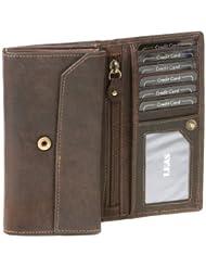 Portefeuille pour femme Vintage LEAS MCL, cuir véritable, marron - ''LEAS Basic-Vintage-Collection''