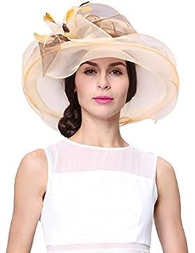 June's Young Sombrero Mujer para Verano Organza Pamelas Playa Sol Elegante con Piedra Joyas Sombrero Pamela Boda...