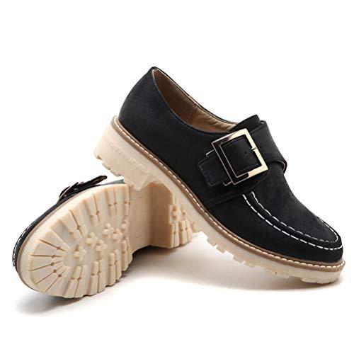 Zapatos de Cuero Casuales para Mujer Moda Hebilla de Metal Costura PU Color sólido Top bajo Mocasines...