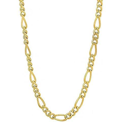 4mm 14K Placcato Oro Miami Figaro catena collana