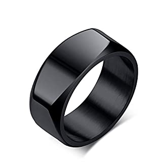 Anyeda Sterling Silver Rings Necklace Gold Wedding Band Set Ring 8Mm Rectangle Black Size R 1/2