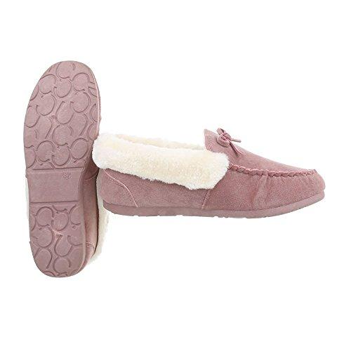 Ital-Design Chaussures Femme Mocassins Plat Mocassins Rose