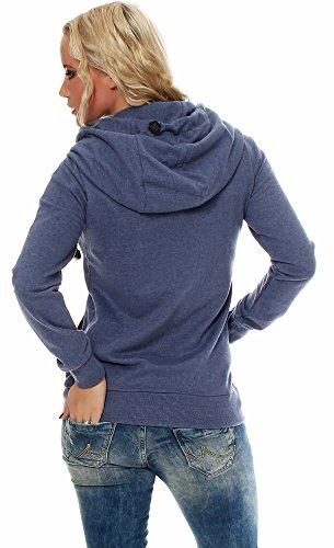 Sublevel Femmes Pull À Capuche Pull pour femmes Sweat 1187A1 Bleu