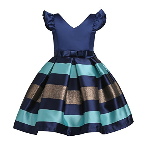 AnKoee Girls Dress Color Block Contrast Bow Tie Everday Party Age 2-11 Years