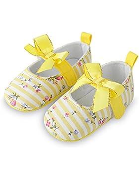 Decdeal Prewalker Zapatos para Bebé de Primeros Pasos con Suelas Blandas Antideslizantes, Rayas Bowknot